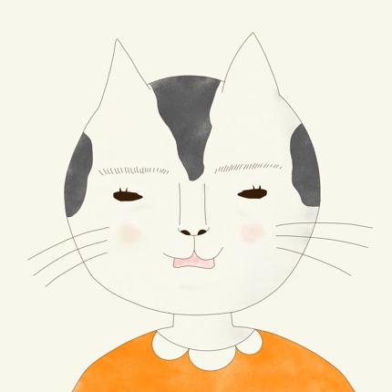 猫の半擬人化イラスト。SNSアイコン用正面のみ。