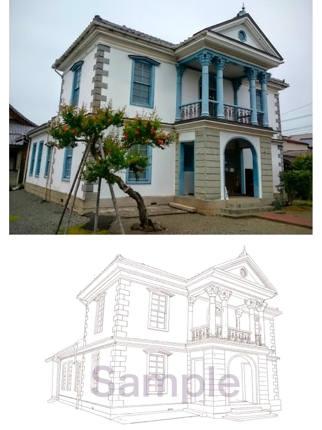 現存する建物(風景)を手描き風に描き起こします。