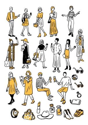 ファッション系 カットイラスト制作