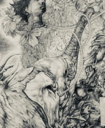 鉛筆画製作します。イメージに合わせて、鉛筆画で華やかに装飾も加えます。
