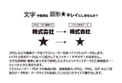 文字・図形のベクトル化(変換)サービス(JPEG画像→イラストレーター・PDF)