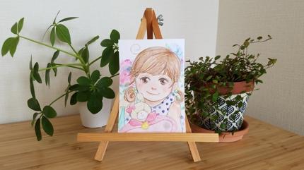 水彩タッチ優しい雰囲気の似顔絵描きます