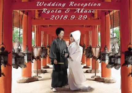 結婚式のウェルカムボードの合成アートの制作