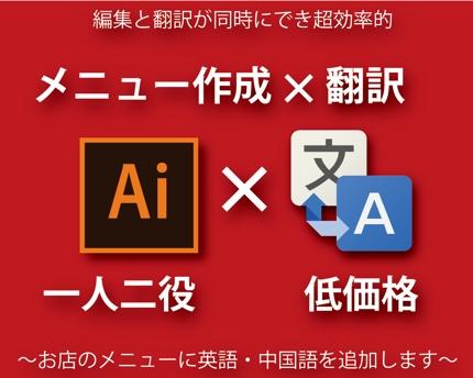 英語・中国語のメニュー、翻訳と作成が同時にできます