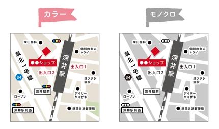 Illustratorでの地図作成(カラー・モノクロ)