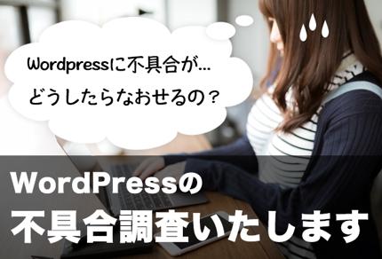 「WordPressの困った!」は私にお任せください!不具合の原因調査いたします