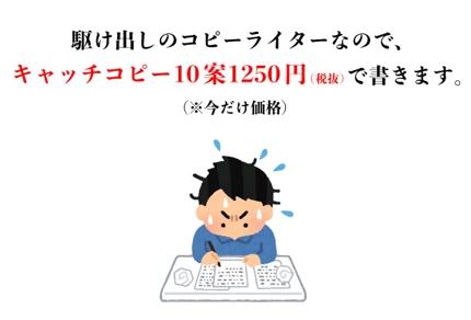 キャッチコピー作成/10案1250円(税込1375円)