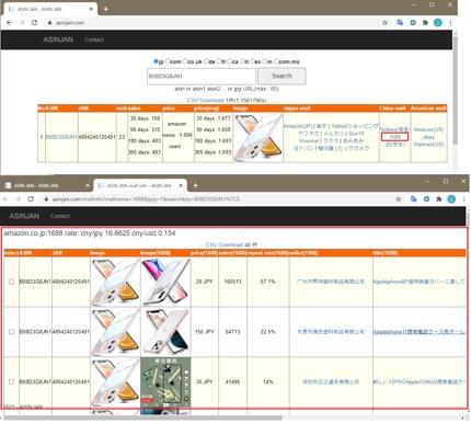 1688,taobao(タオバオ),画像検索,Amazon平均価格、販売数調査