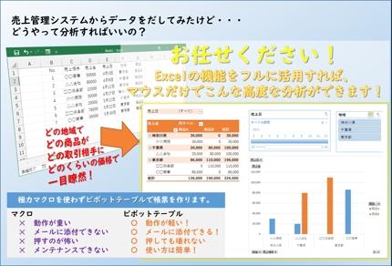 【マウス操作で簡単】Excelで帳票作成・データ分析をお手伝いします【脱マクロ】