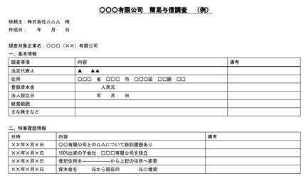 中国企業の簡易与信調査