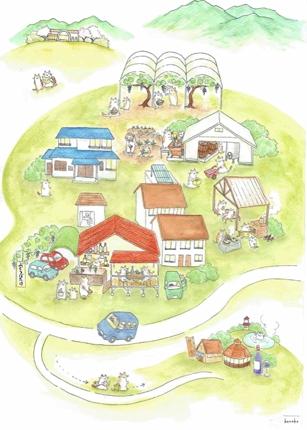 絵本風のタッチで農園等の施設案内マップを描きます