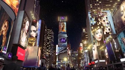 タイムズスクエア風ハメ込み型CM動画を制作致します
