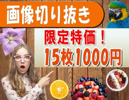 【期間限定特価!】画像切り抜き 15枚 1,000円にてお受けいたします!