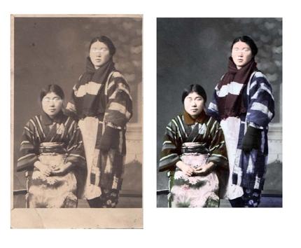 画像加工 ダメージを受けた古い写真の修復やモノクロ写真をカラーにします