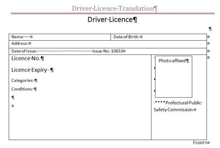 オーストラリア向けNAATI認定運転免許証翻訳 PDF+普通航空便発送