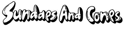 白黒のシンプル、ポップ、アメリカンな手描きロゴ、字体デザイン