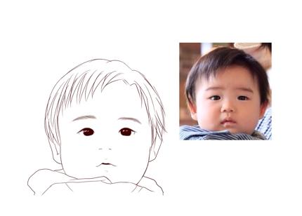 モノクロ線画の似顔絵です。名刺・SNSなどに