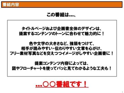 テレビ・インターネットコンテンツ・広告キャンペーン企画書作成(10ページまで)