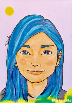 青と黄の似顔絵作成