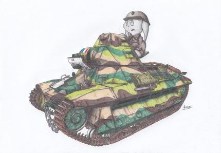 戦車、重機、乗り物のアナログイラスト