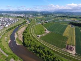 河川と畑と町