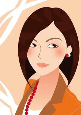 女性の似顔絵イラスト