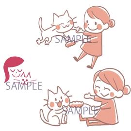 猫&飼い主さんのイラスト 、イラスト ロゴ