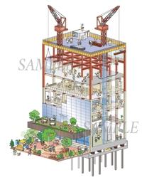 ビル建築の過程、鳥瞰イラスト