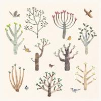 【かわいい・癒し】木と鳥の水彩手描きイラスト