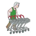 スーパーのイオンでカート回収の仕事をしているシニア(65歳前後)のイラストへの提案