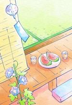 hutoshiさんの【複数採用】「ひまわり/花火と浴衣/夏の縁側風景」のいずれかをテーマにしたポストカードのデザイン依頼への提案