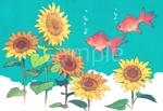 harunohiさんの【複数採用】「ひまわり/花火と浴衣/夏の縁側風景」のいずれかをテーマにしたポストカードのデザイン依頼への提案