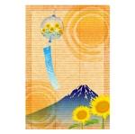 fukurowmanさんの【複数採用】「ひまわり/花火と浴衣/夏の縁側風景」のいずれかをテーマにしたポストカードのデザイン依頼への提案