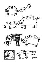 komettoさんの年賀状のデザイン 「亥」のイラスト6種類ほど 昨年までのイメージサンプルあり♪への提案