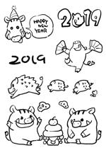 MASUK3041FDさんの年賀状のデザイン 「亥」のイラスト6種類ほど 昨年までのイメージサンプルあり♪への提案