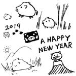 ohgmotiさんの年賀状のデザイン 「亥」のイラスト6種類ほど 昨年までのイメージサンプルあり♪への提案
