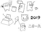 tia_1049さんの年賀状のデザイン 「亥」のイラスト6種類ほど 昨年までのイメージサンプルあり♪への提案