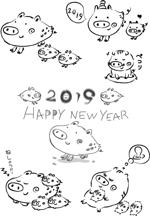 bunbunumaさんの年賀状のデザイン 「亥」のイラスト6種類ほど 昨年までのイメージサンプルあり♪への提案