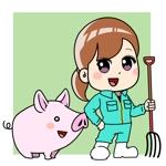 【納期相談可・静止画】未来を見つめてひたむきに頑張る若い豚と養豚会社職員のキャラクターデザインへの提案