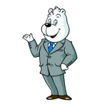 bricoleurさんのスーツを着た白クマのキャラクターデザインへの提案