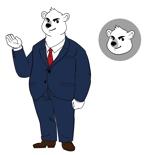 Yuririさんのスーツを着た白クマのキャラクターデザインへの提案