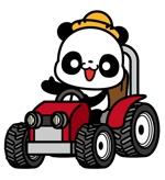 n_shoさんのパンダがトラクターに乗っているマスコットキャラクターデザインへの提案