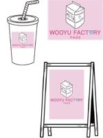 850pageさんのオープン予定のテイクアウト専門K-POPカフェ「Wooyu Factory」のロゴ制作への提案