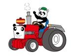 e-netsさんのパンダがトラクターに乗っているマスコットキャラクターデザインへの提案