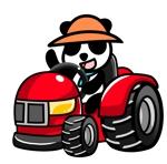 HUYUTUKIさんのパンダがトラクターに乗っているマスコットキャラクターデザインへの提案