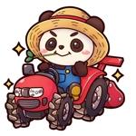 Miloku_paren_milokuさんのパンダがトラクターに乗っているマスコットキャラクターデザインへの提案