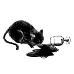 倒れたグラスから溢れたワインをペロペロと舐める猫のイラストへの提案