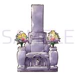 《採用されたら次回10万〜の発注有り》お墓の営業冊子のカバー用「お花が供えてある墓石」のイラストへの提案