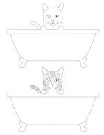浴槽に入った猫のイラストへの提案