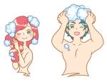 kikuzさんの30代女性と30代男性がシャンプーをしているイラスト(計2点)への提案